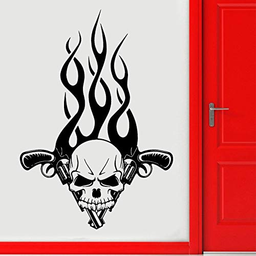 Lustige Smashing Fire Gothic Tribal Dekorative Flugzeug Wandaufkleber Vinyl selbstklebende Tür Aufkleber Wohnzimmer Wandbild Tapete Marineblau L 57x82 cm Smashing Jet