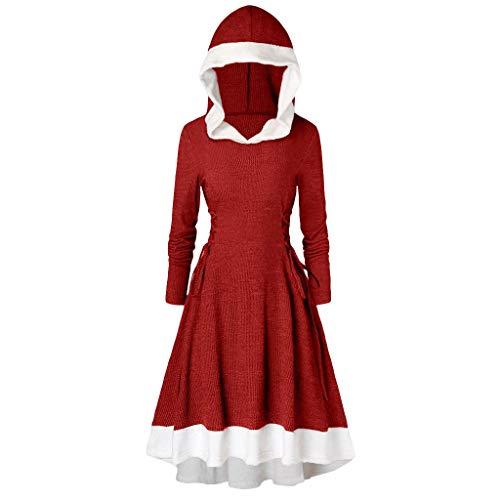 Kolila Weihnachten Damen Vintage Mantel Kleid Langarm Riemchen Insert Mock Button mit Kapuze Hoch Niedriger Saum Blusen Tops -