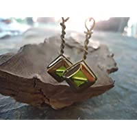 ★ VECCHIO vetro verde ★ orecchini lunghi ganci