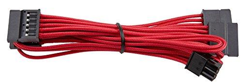 """Corsair CP-8920187 Premium Sleeved """"RMi-, RMx,- SF und Typ4 (Generation 3)-Serie"""" Netzteil SATA-Kabel rot"""