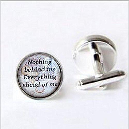 anschettenknöpfe, On The Road Zitat, nichts Hinter Mir Alles Ahead von mir, Karte Manschettenknöpfe, inspirierende Schmuck, Zitat Jewelry ()