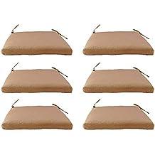 Edenjardi Pack 6 Cojines para sillas y sillones de jardín Color Lux Arena | Tamaño 44x44x5