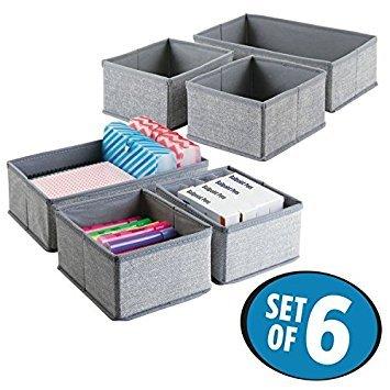 Stifte-schublade (mDesign Schubladen Organizer ? 6er-Set Stoff Aufbewahrungsboxen für Büroutensilien ? kleine Schubladeneinsätze für Stifte, Haftnotizen, Büroklammern etc. ? grau)