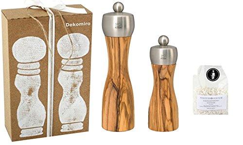 Peugeot Set Fidji Salzmühle 15 cm und Pfeffermühle 20 cm aus Olivenholz Dekomiro Geschenkset mit 100 gr. Salz