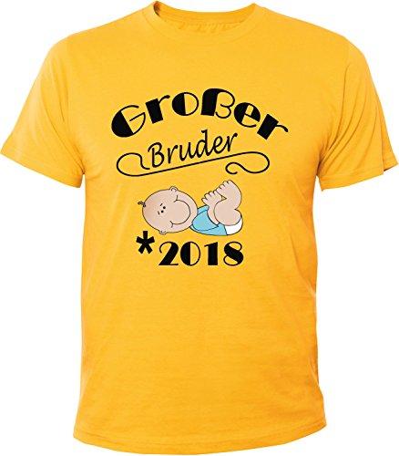 Mister Merchandise Herren Men T-Shirt Großer Bruder - 2018 Tee Shirt bedruckt Gelb