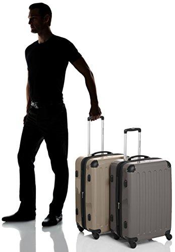 HAUPTSTADTKOFFER - Alex - 2er Koffer-Set Hartschale glänzend, TSA, 65 cm, 74 Liter, Aubergine-Silber Graphit-Champagner