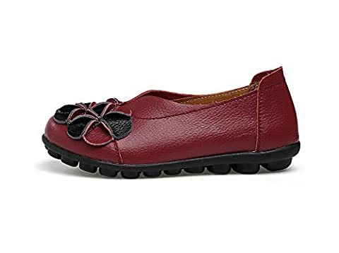 Verocara Women's Leather Flower Flat Casual Shoes Driving Loafers Wine 8.5 UK