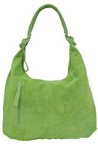 AMBRA Moda Damen Wildleder Handtasche Schultertasche Beutel Hobo Bag Veloursleder Suede XXXL WL808 (Apelgrün) (Leder Damen Hobo Handtasche)