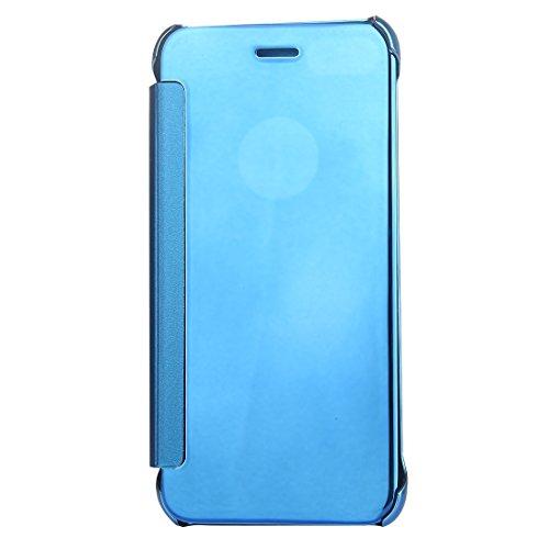 Hülle für iPhone 7 plus , Schutzhülle Für iPhone 7 Plus Überzug Spiegel Horizontale Flip Leder Tasche ,hülle für iPhone 7 plus , case for iphone 7 plus ( Color : Purple ) Blue