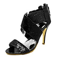 SendIt4Me Black Sequined Elasticated Cross Over high Heel Shoes with Ankle Strap