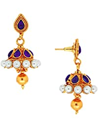 Spargz Antique Gold Plated Brass Metal Kemp Stones Jhumki Earring For Women AIER 297
