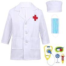 dPois Unisexo Niño Niña Disfraz Bata Blanca/Rosa Abrigo Manga Larga de Doctor/Enfermera
