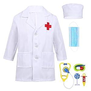 Alvivi Uniforme de Trabajo Bata Blanca Abrigo de Laboratorio Farmacia Estetoscopio de Juguete Traje de Doctor Enfermera Sanitario Chaqueta Disfraz Cosplay Conjunto