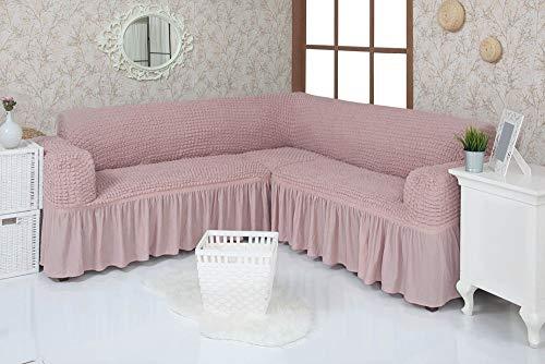 Mixibaby Eck Sofabezug Sofahusse Sesselbezug Sitzbezug Sesselüberwurf Stretchhusse Sofahusse, Farbe:Altrosa
