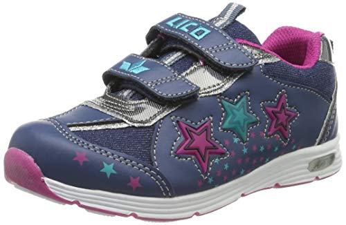 Lico Mädchen Lukida V Blinky Sneaker, Blau Marine/Pink/Türkis, 27 EU