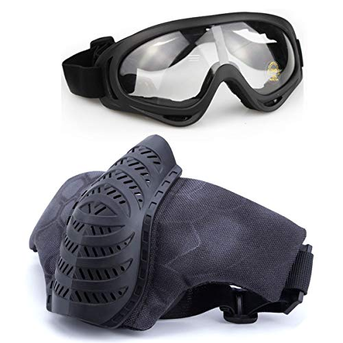 Softair Maske und Brille Set, Halbgesicht, TPU-Maske und Brille für CS/Jagd/Paintball/Shooting (TY) -