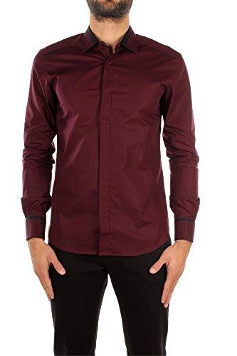 Camicie Zegna Uomo Cotone Bordeaux e Nero 4T50039DHOSE Rosso 40 Drop 8 Fit