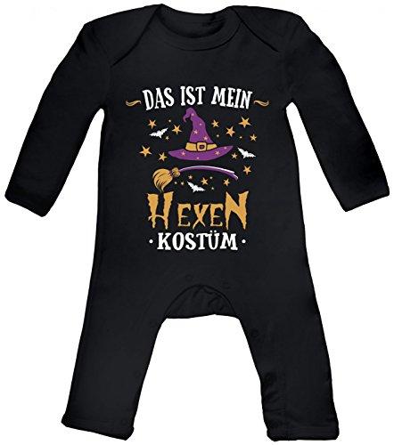Shirt Happenz Kostüm Hexe Babybody | Verkleidung | Karneval | Fasching | Langarm | Langärmliger Strampler, Farbe:Schwarz (Black BZ13);Größe:3-6 Monate (Baby Hexe Kostüm 3 6 Monate)