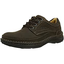 Clarks Nature Three 20340682 - Zapatos casual de cuero nobuck para hombre, color marrón (Ebony Oily), talla 43