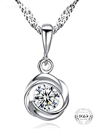 "Young & Forever valentine gifts special Timeless Treasure ""Silk of Love"" 925 Sterling Silver Pendant Necklace Crystals From Swarovski Pendant Necklace For Women / Girls"