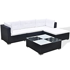 41C2FJTjmDL. SS300  - Festnight Poly Rattan Patio Garden Sofa Set Coffee Table Set 14 Piece Black