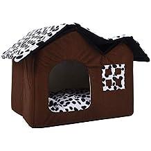 Casa de Mascotas Habitación Doble para Perros Cama de Perro marrón Casa de Mascotas Doble Casa