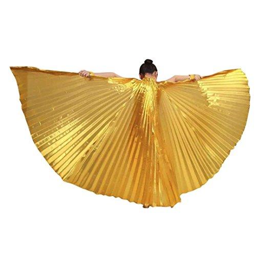 erthome Kinder Kinder Ägypten Bauchtanz Flügel Kostüm Zubehör Keine Sticks (Gold, 100cm/39.4