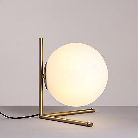 Modeen Modern Globe Glass Shade Creative Ball Lune Lampe de table Chambre à coucher Bureau d'étude Office E27 Front Desk Lampe Lampe de table