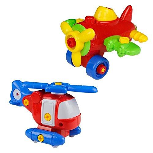 Juguetes de montaje Helicóptero y Aeroplano de Modelo 2 Set Juego de construcción para Niños sobre 3 Años