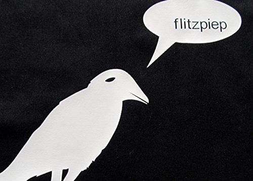 Baumwolltragetasche Jutebeutel Beutel Miniblings KRÄHE RABE sagt FLITZPIEP schwarz