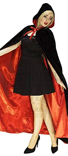 Black Velvet and Red Silk Reversible Hooded Cape - Lola Red Hooded Capes