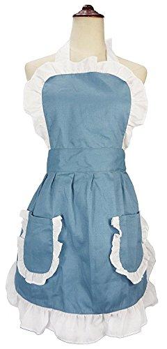 he Outline Retro Schürze Küche Kuchen Backen Kochen Cleaning Maid Kostüm Mit Taschen blau (Kuchen Backen Halloween)