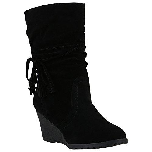 Stiefelparadies Damen Stiefel Keilabsatz Wedges Profilsohle Boots 150370 Schwarz Fransen 38 | Flandell® (Keil-stiefel)