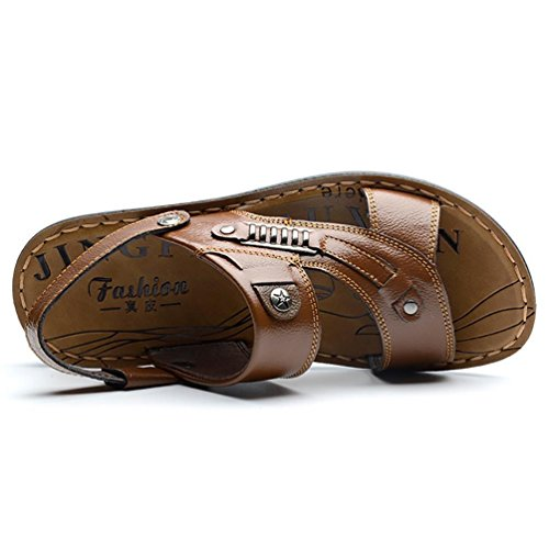 SHANGXIAN Scarpe in pelle Casual Atletico all'aperto sandali uomo nero marrone 44
