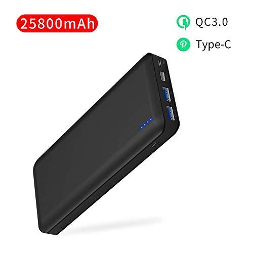 Power Bank 25800mAh Quick Charge 3.0 Caricabatterie Portatile USB C/Type C Batteria Esterna Cellulare con 3 porte USB e Protezioni di Sicurezza per iPhone iPad SamSung Huawei Tablet Fotocamera PSP