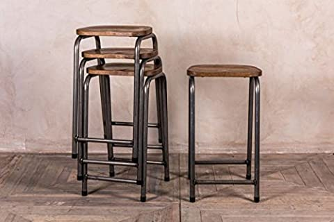 METAL LAB STOOL VINTAGE STYLE BAR STOOL WITH OAK