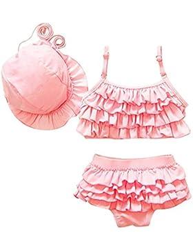 Moollyfox Costumi a Due Pezzi per Bambine e Ragazze Principessa , Costume da Bagno con Cappello Pink S