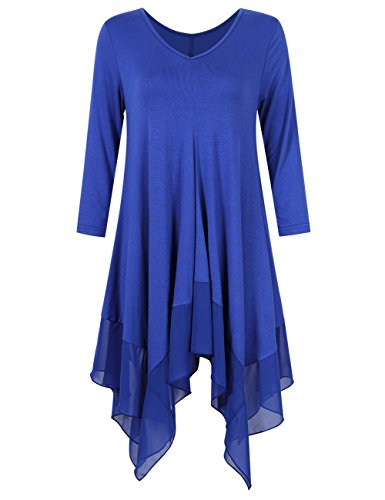 KoJooin Damen Plus Size Asymmetrische Lässige Longshirt Chiffon Bluse Oversize T Shirt Casual Tunika Top Empire Blau Langarm L (Tunika T-shirt Top Kleid)
