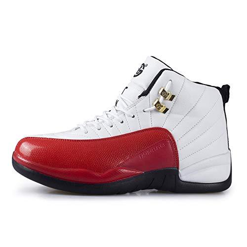 Willsky Herren-Basketball-Schuhe, Performance Shock Absorption Basketball-Stiefel Leichte Trainingsturnschuhe Atmungsaktiv Soft Outdoor Lovers,Red,37