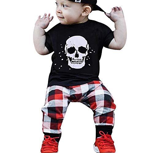 Kostüm Hexe Teenager -  Romantic Halloween Kostüme Kinder Baby Jungen Kurzarm Schädel Gedruckt Kapuzen Oberteile Schwarz Top T-Shirt + Kariertes Hosen 2er Set Kostüme für Baby Karneval Party Halloween Verkleiden