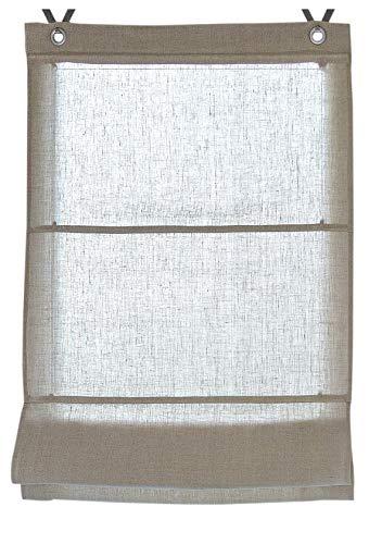 Rollos & More Estor Plegable 100% Lino Metis Blanco, Natural con Ojales y Ganchos, 45, 60, 80 y 100 * 140 cm (Tamano 80 * 140 cm, Linen)