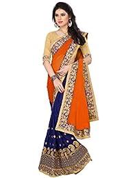 9b202f1f66b Pragati Fashion Hub Women s Georgette Embroidery Sari with Blouse piece-  PR.R566