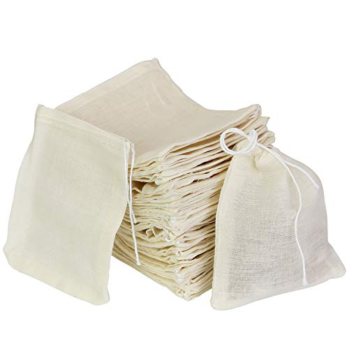 Cotton Muslin Drawstring Bags,PERFETSELL 50 Pack Resuable Small Mesh Bag for Cooking,Soaking Medicinal Liquor,Tea Coffee Filter,DIY Carft Spices Storage,Weeding Party Favor White