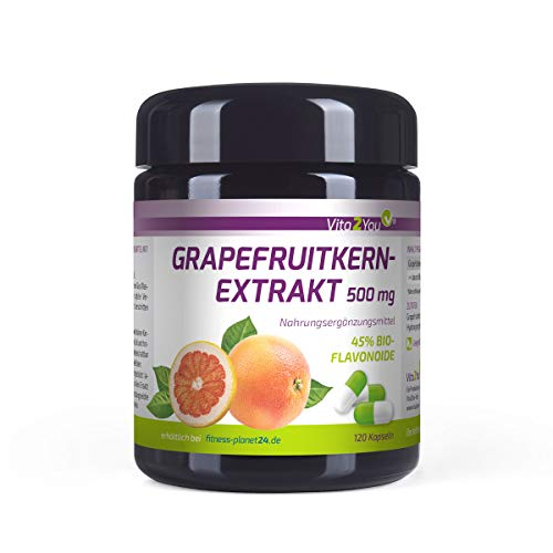 Grapefruitkernextrakt 500mg - 120 Kapseln - 45% Bio-Flavonoide - entspricht 225mg pro Kapsel - Hochdosiert - Miron Glas - Premium Qualität - Made in Germany