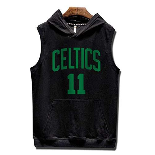 Yujingc Herren Workout Fitness Kapuzen-Tanktops Boston Celtics NO.11 Logo Ärmellose Turnhalle Hoodies mit Tasche Unterhemd NBA Basketball Jersey,Black,XL (ärmelloses Basketball-unterhemd)