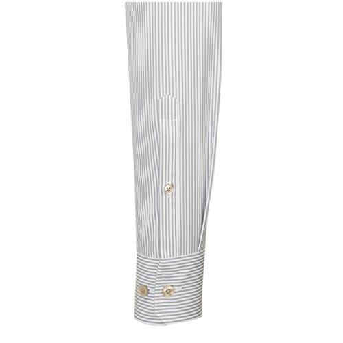 Seidensticker Herren Langarm Hemd Splendesto Regular Fit Kent Tape grau / weiß gestreift mit Patch 188366.34 Grau