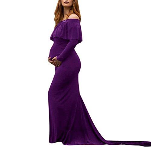 Kleider Damen Dasongff Schwangerschaft Kleid Frauen Lange Kleider Mutterschaft Fotografie Requisiten Kleidung Schulterfrei Rüschen Strandkleid Abendkleid Umstandskleid (XL, Lila)