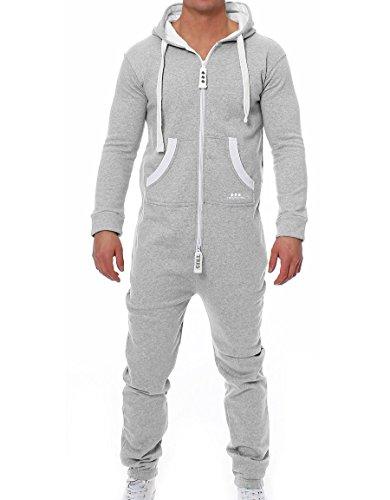 TRES Puntos Herren Jumpsuit Jogger Jogging Anzug Trainingsanzug Overall (Hellgrau, XL)