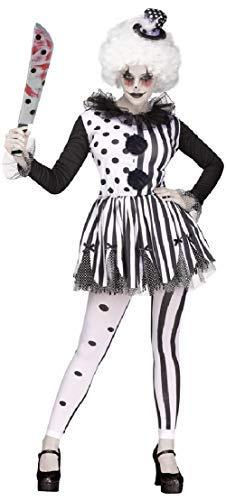 Fancy me donna arlecchino assassino pagliaccio del circo giullare horror halloween costume travestimento - black/bianco, uk 10-12