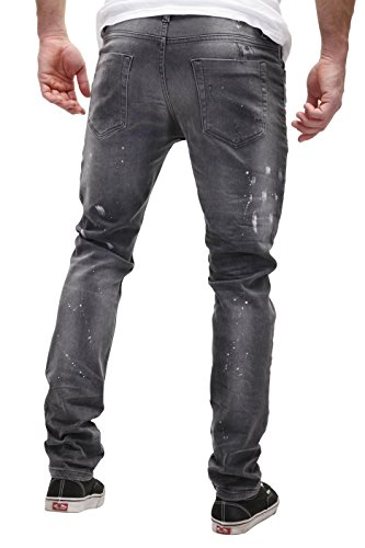 MERISH Herren Denim Jeans Used Patched Slim Fit Destroyed Paint Modell J2071 Schwarz